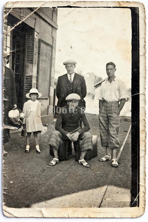 damaged vintage family group portrait image