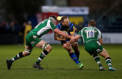 Worcester Warriors Full Back Chris Pennell is tackled by Greig Tonks fly half for London Irish and Matt Symons second row for London Irish - Mandatory by-line: Robbie Stephenson/JMP - 26/03/2016 - RUGBY - Sixways Stadium - Worcester, England - Worcester Warriors v London Irish - Aviva Premiership