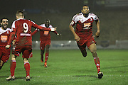 Whitehawk striker Danny Mills celebrates the opening goal during the The FA Cup 2nd Round Replay match between Whitehawk FC and Dagenham and Redbridge at the Enclosed Ground, Whitehawk, United Kingdom on 16 December 2015. Photo by Phil Duncan.