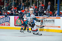 KELOWNA, CANADA - FEBRUARY 18: Chance Braid #22 of Kelowna Rockets skates against the Kamloops Blazers on February 18, 2015 at Prospera Place in Kelowna, British Columbia, Canada.  (Photo by Marissa Baecker/Shoot the Breeze)  *** Local Caption *** Chance Braid;