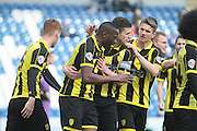 Burton No 10 Lucas Akins and his team mates celebrate the third goal in the Sky Bet League 1 match between Colchester United and Burton Albion at the Weston Homes Community Stadium, Colchester, England on 23 April 2016. Photo by Nigel Cole.