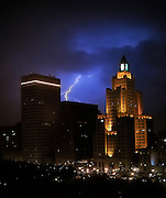 Lightening Strike at Night Over Providence Rhode Island