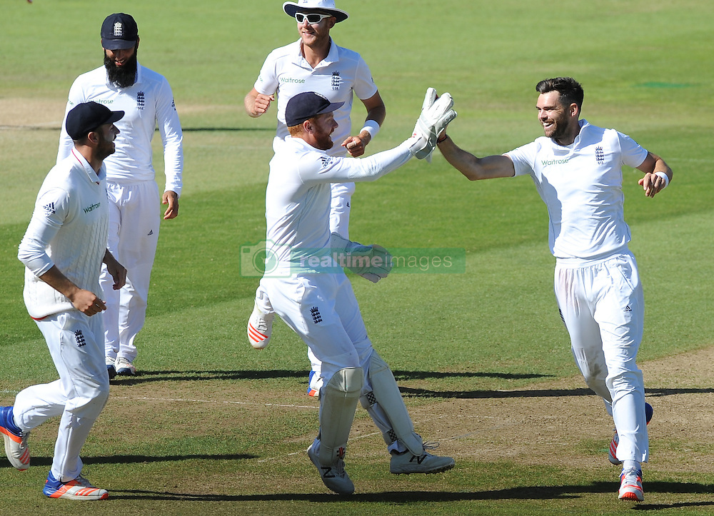 England's James Anderson, right, celebrates after bowling Pakistan's Yasir Shah caught by Alex Hales during day five of the 3rd Investec Test Match at Edgbaston, Birmingham.