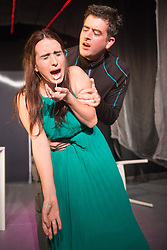 © Licensed to London News Pictures. 14/11/2012. London, UK. Cira Luna Theatre present the first UK staging of Stanislaw Lem's 1961 cult classic Solaris, directed by Dimitri Devdariani, at the Courtyard Theatre, London. Murray Simon (Gibarian) & Tara Godolphin (Rheya). Photo credit: Tony Nandi/LNP