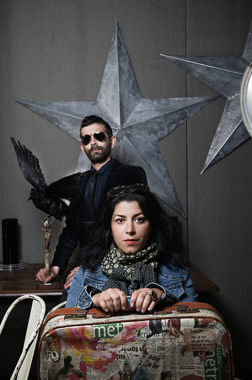 """Cartoonists and directors Marjane and Satrapi Vincent Paronnaud came to the 63rd Cannes Film Festival to present their upcoming movie, """"Poulet aux Prunes"""". France. 14 May 2010. Photo: Antoine Doyen"""