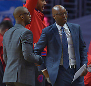 Los Angeles Clippers guard Chris Paul #3 and Sam Cassell during a time out. The Los Angeles Clippers played the Portland Trail Blazers in game 5 of the NBA Western Conference Playoffs first round. Los Angeles, CA.  April 27, 2016. (Photo by John McCoy/Southern California News Group)