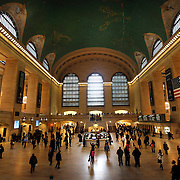 A panoramic view of the main concourse at Grand Central Terminal in Manhattan, New York, USA. 29th January 2013. Photo Tim Clayton.Note to Editors. This image is a composite of three images taken a split second apart and merged in editing.
