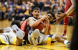 Jan 6, 2018; Morgantown, WV, USA; West Virginia Mountaineers guard James Bolden (3) dives on a loose ball and calls a timeout during the first half against the Oklahoma Sooners at WVU Coliseum. Mandatory Credit: Ben Queen-USA TODAY Sports