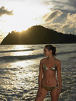 Young Woman at Beach at Sunset