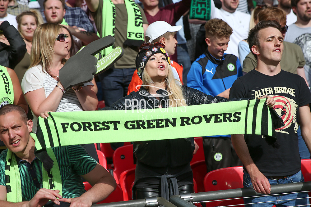 Forest Green Rovers supporter during the Vanarama National League Play Off Final match between Tranmere Rovers and Forest Green Rovers at Wembley Stadium, London, England on 14 May 2017. Photo by Shane Healey.