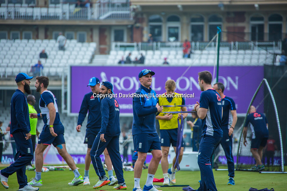 London,UK. 27 September Jason Roy (front centre) warms-up ahead of the game. England v West Indies. In the fourth Royal London One Day International at the Kia