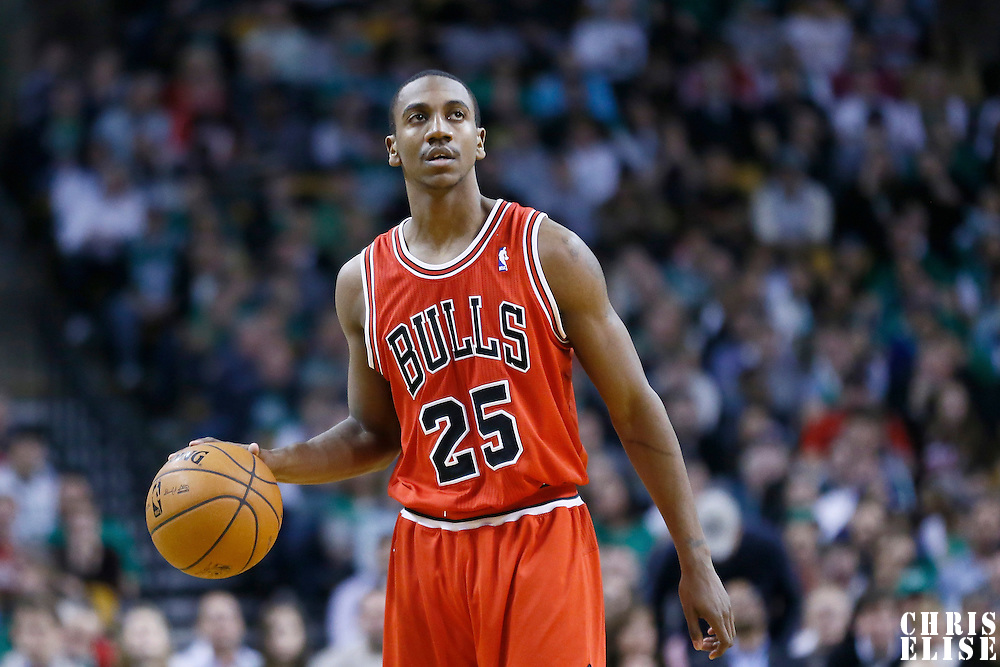 13 February 2013: Chicago Bulls point guard Marquis Teague (25) brings the ball upcourt during the Boston Celtics 71-69 victory over the Chicago Bulls at the TD Garden, Boston, Massachusetts, USA.