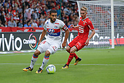 Nabil FEKIR (Olympique Lyonnais), Benjamin BOURIGEAUD (STADE RENNAIS FOOTBALL CLUB) during the French championship L1 football match between Rennes v Lyon, on August 11, 2017 at Roazhon Park stadium in Rennes, France - Photo Stephane Allaman / ProSportsImages / DPPI
