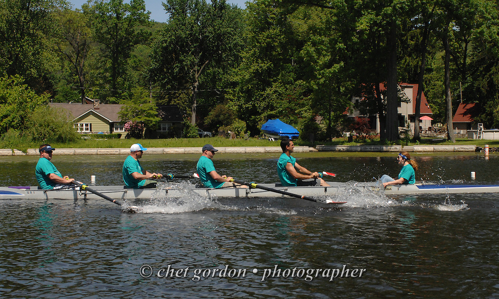 GREENWOOD LAKE, NY.  Rowers compete in the 2014 Greenwood Lake Challenge Regatta in Greenwood Lake, NY on Sunday, June 1, 2014. The annual event for novice rowers is a fundraiser for the East Arm Rowing Club in Greenwood Lake.  © Chet Gordon/THE IMAGE WORKS