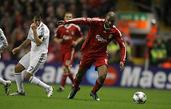 Ryan Babel takes up the attack for Liverpool..Uefa Champions League, First knock-out round, second leg..Liverpool v Real Madrid..Anfield..10.03.09