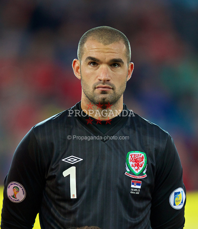 CARDIFF, WALES - Tuesday, September 10, 2013: Wales' goalkeeper Boaz Myhill before the 2014 FIFA World Cup Brazil Qualifying Group A match against Serbia at the Cardiff CIty Stadium. (Pic by David Rawcliffe/Propaganda)