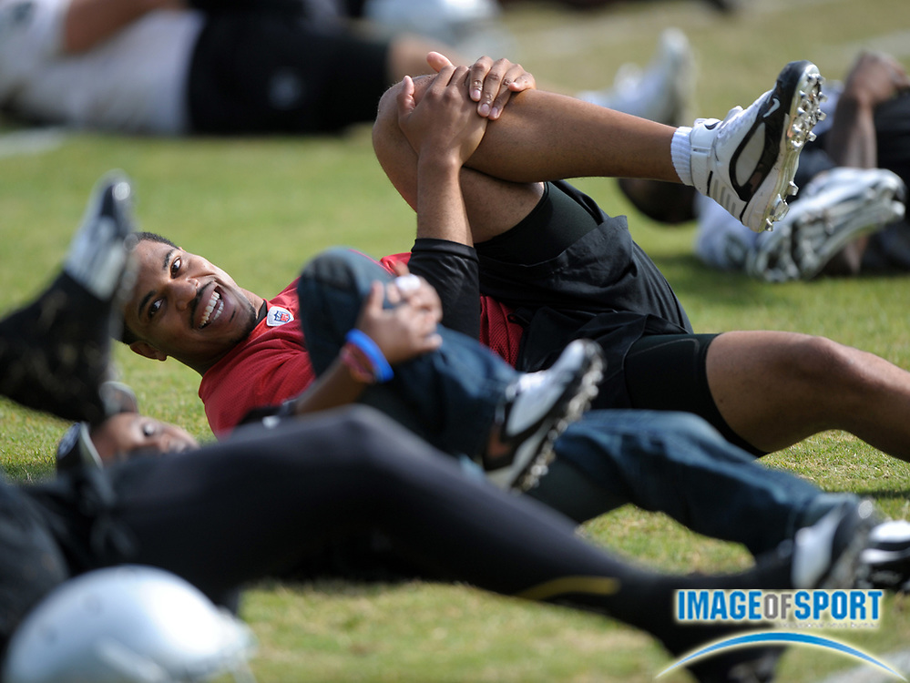 May 26, 2010; Alameda, CA, USA; Oakland Raiders quarterback Jason Campbell (8) stretches at organized team activities at the Oakland Raiders practice facility.