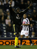 Photo: Rich Eaton.<br /> <br /> West Bromwich Albion v Cardiff City. Carling Cup. 25/09/2007. Cardiff's Jimmy Floyd Hasselbaink scores from outside the box to make it 2-0 and celebrates