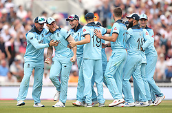 England celebrate the wicket of South Africa's Dwaine Pretorius (not pictured) during the ICC Cricket World Cup group stage match at The Oval, London.