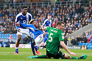 Chesterfield's Gboly Ariyibi (28) has a shot during the EFL Sky Bet League 1 match between Chesterfield and Scunthorpe United at the b2net stadium, Chesterfield, England on 22 October 2016. Photo by Richard Holmes.