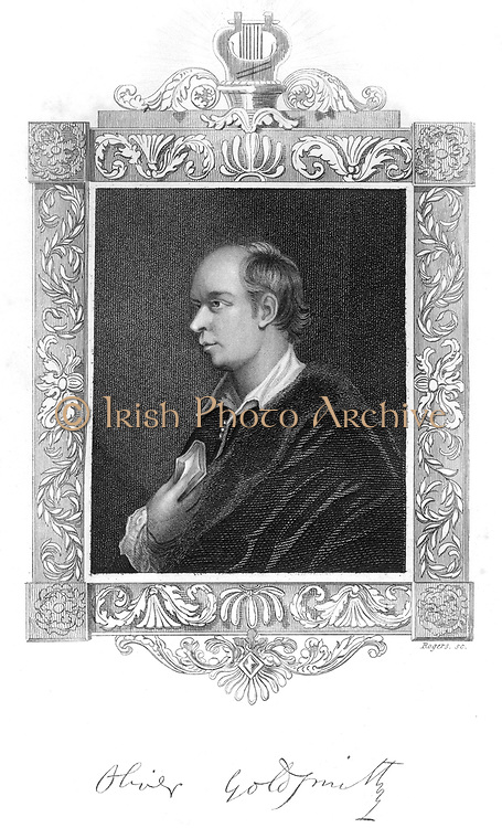 Oliver Goldsmith (1724-1774) Irish-born British playwright and poet and novelist best remembered for the  novel 'The Vicar of Wakefield' (1766) the poem  'The Deserted Village' (1770) and the play 'She Stoops to Conquer' (1773). Steel engraving.