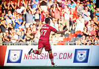 July 27, 2015: Ottawa Fury FC forward Carl Haworth (#17) celebrates scoring the opening goal during the NASL match between the Ottawa Fury FC and Carolina Railhawks at TD Place Stadium in Ottawa, ON. Canada on July 27, 2016. The Fury recording a 2-0 win.<br /> <br /> PHOTO: Steve Kingsman/Freestyle Photography