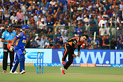 April 29, 2018 - Jaipur, Rajasthan, India - Sunrisers  Hyderabad bowler Rashid Khan bowls  plays a shot during the IPL T20 match against Rajasthan Royals at Sawai Mansingh Stadium in Jaipur on 29th April,2018. (Credit Image: © Vishal Bhatnagar/NurPhoto via ZUMA Press)