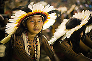 Rikbaktsa girl during the Indigenous National Party, Bertioga city, São Paulo state of Brazil.