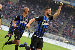 November 3, 2018 - Milan, Milan, Italy - Roberto Gagliardini #5 of FC Internazionale Milano celebrates after scoring the his second goal during the serie A match between FC Internazionale and Genoa CFC at Stadio Giuseppe Meazza on November 03, 2018 in Milan, Italy. (Credit Image: © Giuseppe Cottini/NurPhoto via ZUMA Press)