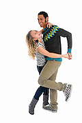 Young couple dancing and having fun On white Background