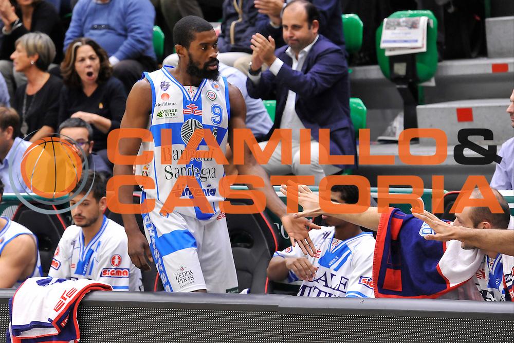 DESCRIZIONE : Campionato 2014/15 Dinamo Banco di Sardegna Sassari - Enel Brindisi<br /> GIOCATORE : Shane Lawal<br /> CATEGORIA : Sostituzione Panchina Fair Play<br /> SQUADRA : Dinamo Banco di Sardegna Sassari<br /> EVENTO : LegaBasket Serie A Beko 2014/2015<br /> GARA : Dinamo Banco di Sardegna Sassari - Enel Brindisi<br /> DATA : 27/10/2014<br /> SPORT : Pallacanestro <br /> AUTORE : Agenzia Ciamillo-Castoria / Luigi Canu<br /> Galleria : LegaBasket Serie A Beko 2014/2015<br /> Fotonotizia : Campionato 2014/15 Dinamo Banco di Sardegna Sassari - Enel Brindisi<br /> Predefinita :