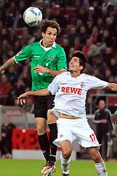 16.10.2011,  Rhein Energie Stadion, Koeln, GER, 1.FBL, 1. FC Koeln vs Hannover 96 ,im Bild.Kopfball / Kopfballduell zwischen Henrique Sereno (Koeln #17) (R) gegen Emanuel Pogatetz (Hannover #4) (L) ..// during the 1.FBL, 1. FC Koeln vs Hannover 96 on 2011/10/16, Rhein-Energie Stadion, Köln, Germany. EXPA Pictures © 2011, PhotoCredit: EXPA/ nph/  Mueller *** Local Caption ***       ****** out of GER / CRO  / BEL ******
