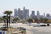 LOS ANGELES - MAY 30:  Palm trees and skyscrapers line the view from the parking lot outside the stadium prior to the game between the Colorado Rockies and the Los Angeles Dodgers on Monday, May 30, 2011 at Dodger Stadium in Los Angeles, California. The Dodgers won the game 7-1. (Photo by Paul Spinelli/MLB Photos via Getty Images)