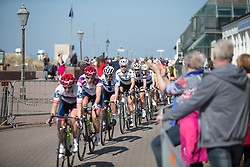 Amalie Dideriksen (DEN) of Boels-Dolmans Cycling Team sits near the front during the penultimate lap of Stage 5 of the Healthy Ageing Tour - a 117.9 km road race, starting and finishing in Borkum on April 9, 2017, in Groeningen, Netherlands.