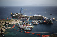 The yard of the Costa Concordia wreck from the hill of the Giglio Island