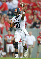 Virginia quarterback Jameel Sewell (10)..The North Carolina State Wolfpack defeated the #15 Virginia Cavaliers 29-24 at Carter Finley Stadium in Raleigh, NC on October 27, 2007.