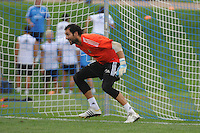 Football - Real Madrid Training for St. Louis Game against Inter Milan.  The Real Madrid team held a practice session on Thursday August 8, 2013 in St. Louis, Missouri, USA at the Robert Hermann Stadium located on the campus of St. Louis University in St. Louis. Diego Lopez Rodriguez takes his turn in goal during a drill.