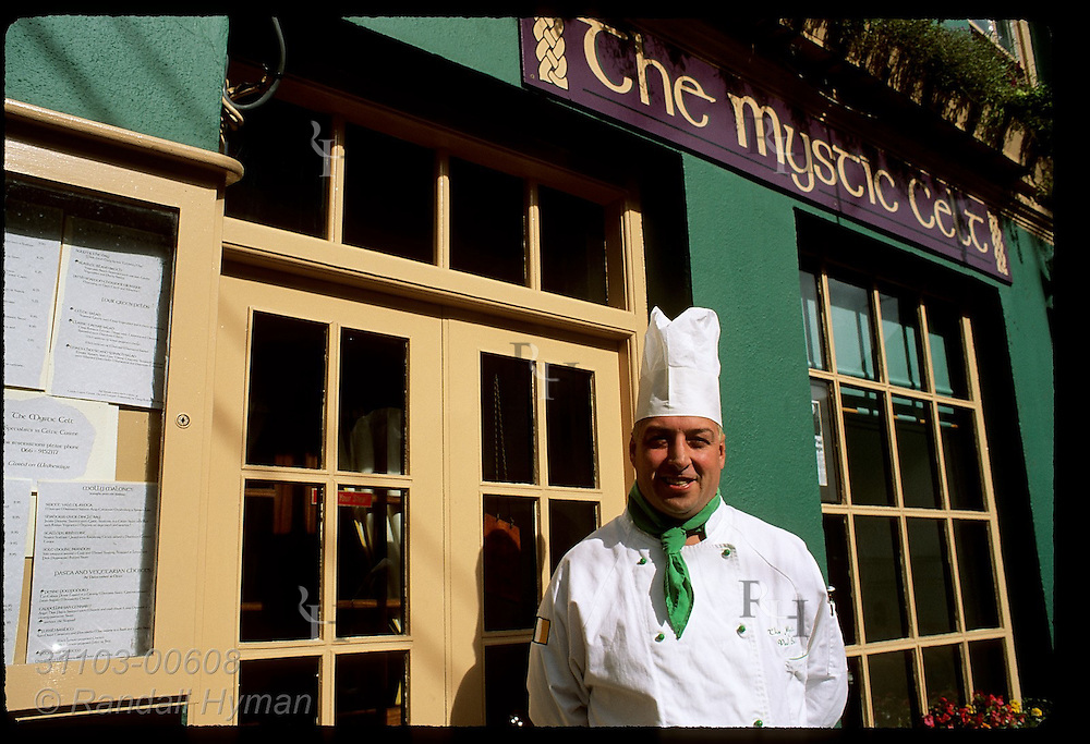 Owner-chef Paul Smith poses outside his gourmet restaurant, The Mystic Celt, in the town of Dingle, Ireland.