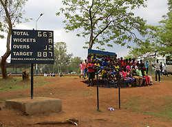 "A view of the Kicukiro Oval, formally Rwanda's only cricket pitch, which was based at a school that was one of the most notorious massacre sites during the 1994 genocide, as the finishing touches are being made to a new cricket stadium which has been dubbed the ""Lord's of East Africa"" ahead of its official opening and a celebrity T20 match on Saturday, in Rwanda."
