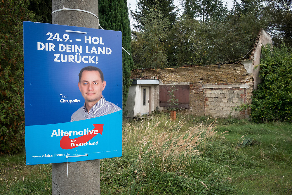 """Germany - Deutschland - Saxony - Sachsen after the federal elections - AFD / the village Oppach close to Görlitz; - Here: AFD direct candidate for the town Görlitz """"take back your country"""", Schönbach,  Saxony, 26.09.2017; © Christian Jungeblodt"""