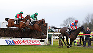 Plumpton, UK, 16th January 2017<br /> Harry Cobden riding Royal Salute (5) clears an early fence before winning  the jasonhallracing.com 'Sharing Success' Handicap Chase at Plumpton Racecourse.<br /> &copy; Telephoto Images / Alamy Live News