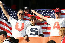 23 JUN 2010:  USA fans in the stands with national flags.  The United States National Team played the Algeria National Team at Loftus Versfeld Stadium in Tshwane/Pretoria, South Africa in a 2010 FIFA World Cup Group C match.