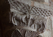 Carved capital depicting 2 animals drinking, from the time of abbot Odolric, 1041-65, in the apse of the Abbatiale Sainte-Foy de Conques or Abbey-church of Saint-Foy, Conques, Aveyron, Midi-Pyrenees, France, a Romanesque abbey church begun 1050 under abbot Odolric to house the remains of St Foy, a 4th century female martyr. The church is on the pilgrimage route to Santiago da Compostela, and is listed as a historic monument and a UNESCO World Heritage Site. Picture by Manuel Cohen