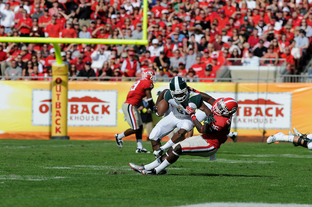 January 2, 2012: Michigan State Spartans vs Georgia Bulldogs at the 2012 Outback Bowl at Raymond James Stadium in Tampa, Florida.