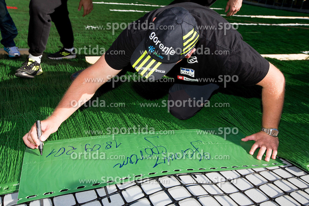 Goran Janus at media day of Slovenian Ski jumping team during construction of two new ski jumping hills HS 135 and HS 105, on September 18, 2012 in Planica, Slovenia. (Photo By Vid Ponikvar / Sportida)