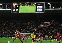 Football - 2019 / 2020 Premier League - Watford vs. Liverpool<br /> <br /> The Scoreboard shows the 3-0 score line, at Vicarage Road.<br /> <br /> COLORSPORT/ANDREW COWIE