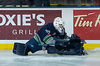KELOWNA, CANADA - JANUARY 5: Liam Hughes #30 of the Seattle Thunderbirds stretches on the ice during warm up against the Kelowna Rockets on January 5, 2017 at Prospera Place in Kelowna, British Columbia, Canada.  (Photo by Marissa Baecker/Shoot the Breeze)  *** Local Caption ***