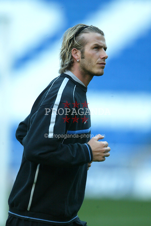 MADRID, SPAIN - Monday, April 7, 2003: Manchester United's David Beckham training at the Estadio Santiago Bernabeu ahead of his side's Champions League Quarter Final 1st Leg match with Real Madrid. (Pic by David Rawcliffe/Propaganda)