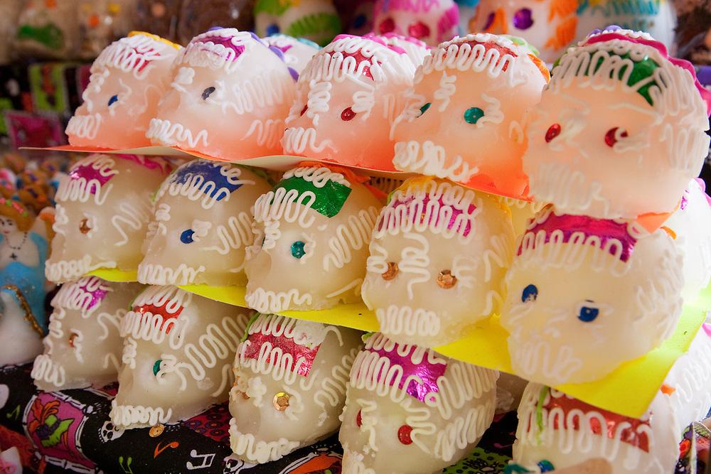 North America, Mexico, Oaxaca Province, Oaxaca, Abastos market, sugar skulls (calaveras de azúcar) for annual Day of the Dead (Dias de los Muertos) celebration in November