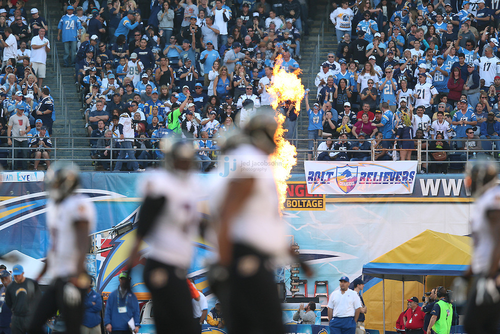 Fans of the San Diego Chargers look on against the Baltimore Ravens during an NFL game on Sunday, November 25, 2012 in San Diego, CA.  (Photo by Jed Jacobsohn)